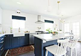 Kitchen With Only Lower Cabinets Navy Gold U0026 White Kitchen Reveal The Vintage Rug Shop The