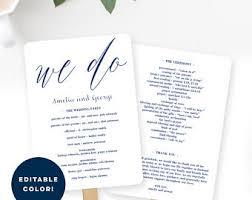 Easy Wedding Program Template Wedding Program Fan Or Flat Wedding Program Templates Printable
