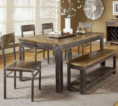 Wood And Metal Dining Chairs Kitchen Furniture Rustic Wood Dining Table Black And White Area