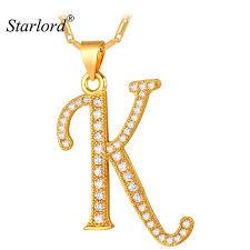 photo necklace pendants images Starlord initial k letter pendants necklaces women men jpg