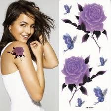 pale purple flower rose tattoo wst12455