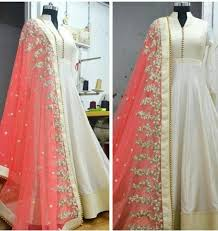 party wear gowns buy white georgette embroidered party wear gowns online