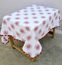 christmas table cloth red and white color snowflake discovered