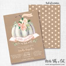 little pumpkin is on her way fall baby shower invitation