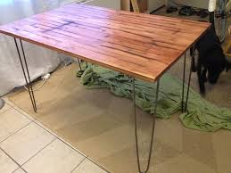 ikea table for entryway with nice industrial hairpin legs and