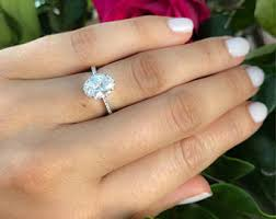 large engagement rings cz ring etsy