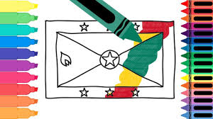 Flag Of Grenada How To Draw Grenada Flag Drawing The Grenadian Flag Coloring