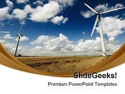 globe with wind turbines powerpoint template windmills renewable
