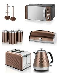 stylish modern kitchen electrical appliances accessories set stylish modern kitchen electrical appliances accessories set swan townhouse copper microwave 1 6l kettle 2 slice toaster bread bin