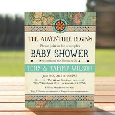 vintage map couples baby shower invitation adventure baby