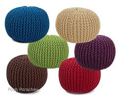 quality hand knitted round foot stool rest pouffe pouf bag seat