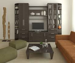 high charcoal wood corner units for living room with venetian