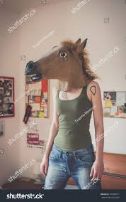 horse mask halloween city mask horse woman home stock photo 195385571 shutterstock