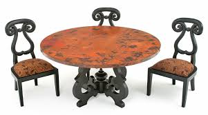 round copper dining table with old world base custom sizes