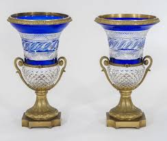Cut Crystal Vases Antique Pair Of Russian Cobalt Overlay Cut To Clear Crystal Vases With