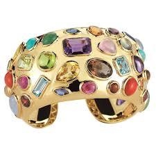 cuff bracelet with stones images Seaman schepps multicolored stone gold cuff bracelet for sale at jpg