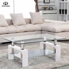designer glass rectangular coffee table shelf chrome wood living