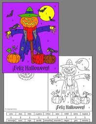 spanish halloween color number cards feliz halloween