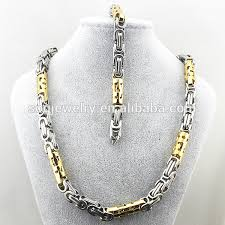 man necklace steel images 2015 fashion two tone stainless steel necklace bracelet new gold jpg