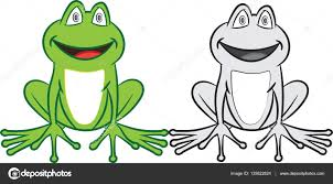 cartoon frog with colorful and black white coloring book for