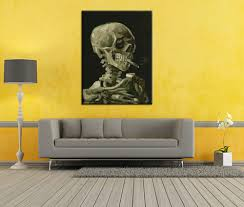 hand made reproduction skull with burning cigarette by vincent van