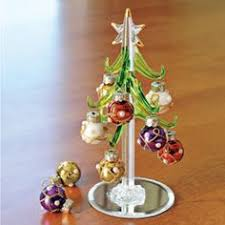 mini glass tree w ornaments glass tree