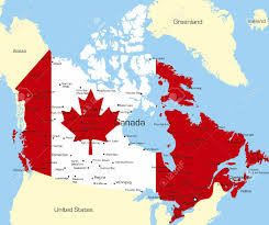 Canada On A Map Abstract Vector Color Map Of Canada Country Coloured By National