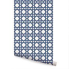 geometric wallpaper bright navy peel and stick