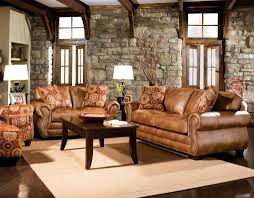Rustic Living Room Furniture Set With Brown Leather Sofa Home - Rustic living room set