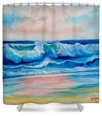 Surfer Shower Curtain Shower Curtains Lloyd Dobson Artist