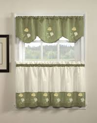 rose embriodered kitchen valance and tiers curtainworks com