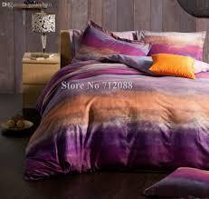 purple orange modern pattern bed sheets linens queen king
