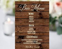 wedding bar menu template bar menu template etsy
