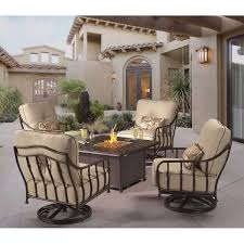 Patio Furniture With Fire Pit Set - cortez 5 piece patio conversational seating with firepit table