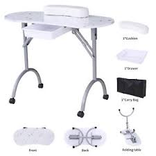 manicure nail table station foldable white manicure nail table portable station desk spa beauty
