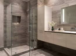Designer Bathroom Wallpaper Modern Bathroom Gray White White Floating Vanity Wallpaper
