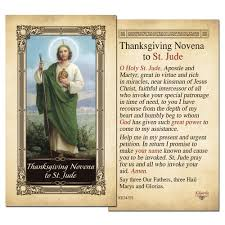 thanksgiving novena to st jude laminated holy card