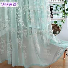 Blue Green Sheer Curtains Sale American Country Fresh Gauze High Grade Embroidered Blue