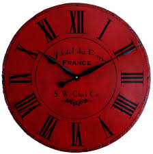 cool wall clock red wall clock plus black needle clock and roman numeral style