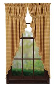 Primitive Swag Curtains New Country Primitive Mustard Plaid Prairie Swags Window