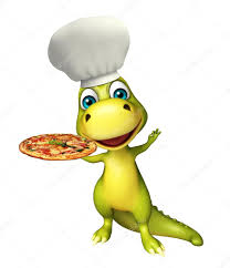 Fun Dinosaur Cartoon Character With Pizza And Chef Hat U2014 Stock
