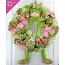 door wreaths easter bunny welcome door wreath pink burlap lime green white