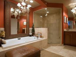 red and beige modern bathroom ideas with brown paint organized