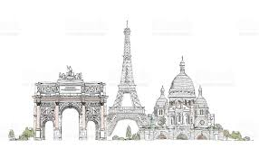 paris sacred heart triumph arch and eiffel tower sketch stock