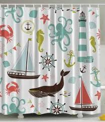 Nautical Bathroom Curtains Uphome Shabby Cape Island Map Bathroom Shower Curtain