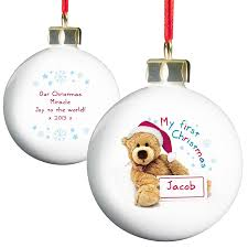 personalised teddy my first christmas bauble amazon co uk