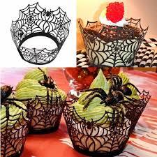 discount halloween spiderweb witch castle laser cut cupcake