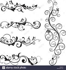 collection of vintage floral silhouette designs with butterflies