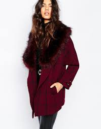 u0026 039 river island womens check jacket coat with faux fur collar