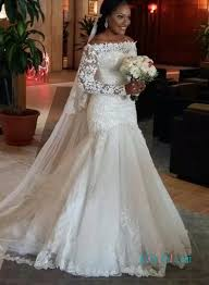 lace mermaid wedding dress h1001 the shoulder lace sleeves mermaid wedding